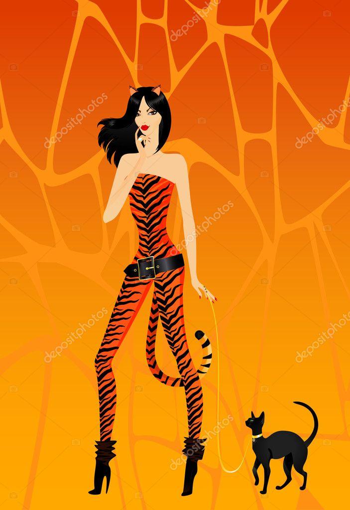 Скачать фото девушки в костюме кошки