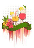 Grunge background with tropical flowers and cocktail — Stock Vector