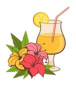 Tropical flowers and cocktail on a white background — Stock Vector