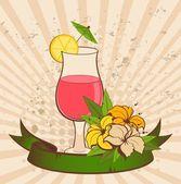 Fondo grunge con flores tropicales y cóctel — Vector de stock