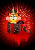 Sign 2010 years is a beautiful little tiger in a crown on a bright abstract — 图库矢量图片
