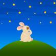 Vector cartoon little toy bunny with stars — Stock Vector