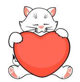 Cartoon little kitten with heart — Stock Vector