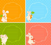 Vector set of cartoon little toy bunny — Stock Vector