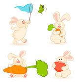 Vector set of cartoon little toy bunny — Stock Vector