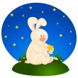 Vector cartoon little toy bunny with stars — Stock Vector