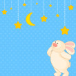 Vector cartoon little toy bunny with stars — Stockvektor