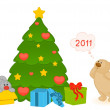 Vector cartoon little toy bunny with fir-tree and gifts — Stock vektor