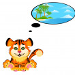 Lovely tiger toddler dreams about nature - Stock Vector