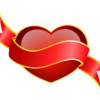 Beautiful red heart on a background with ribbon — Stock Vector