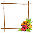 Summer frame from bamboo with tropical flowers — Stock Vector #7374149