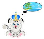 Sonhos de criança adorável tigre sobre natureza — Vetorial Stock