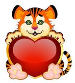 Ign 2010 years is a beautiful little tiger with heart on background — Stock Vector