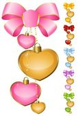 Set of beautiful hearts with bow for the day of sainted Valentine — Stock Vector