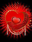 Krásné červené srdce je zařízen pro christmastides — Stock vektor