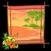 Cartoon palm tree vector in bamboo frame — Stock Vector