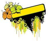 Sommaren banner med tropiska palmer och blommor — Stockvektor