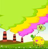 Pecore guardando come una fabbrica è contaminato atmosfera di rifiuti tossici — Vettoriale Stock