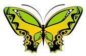 Hermosa mariposa sobre un fondo blanco — Vector de stock