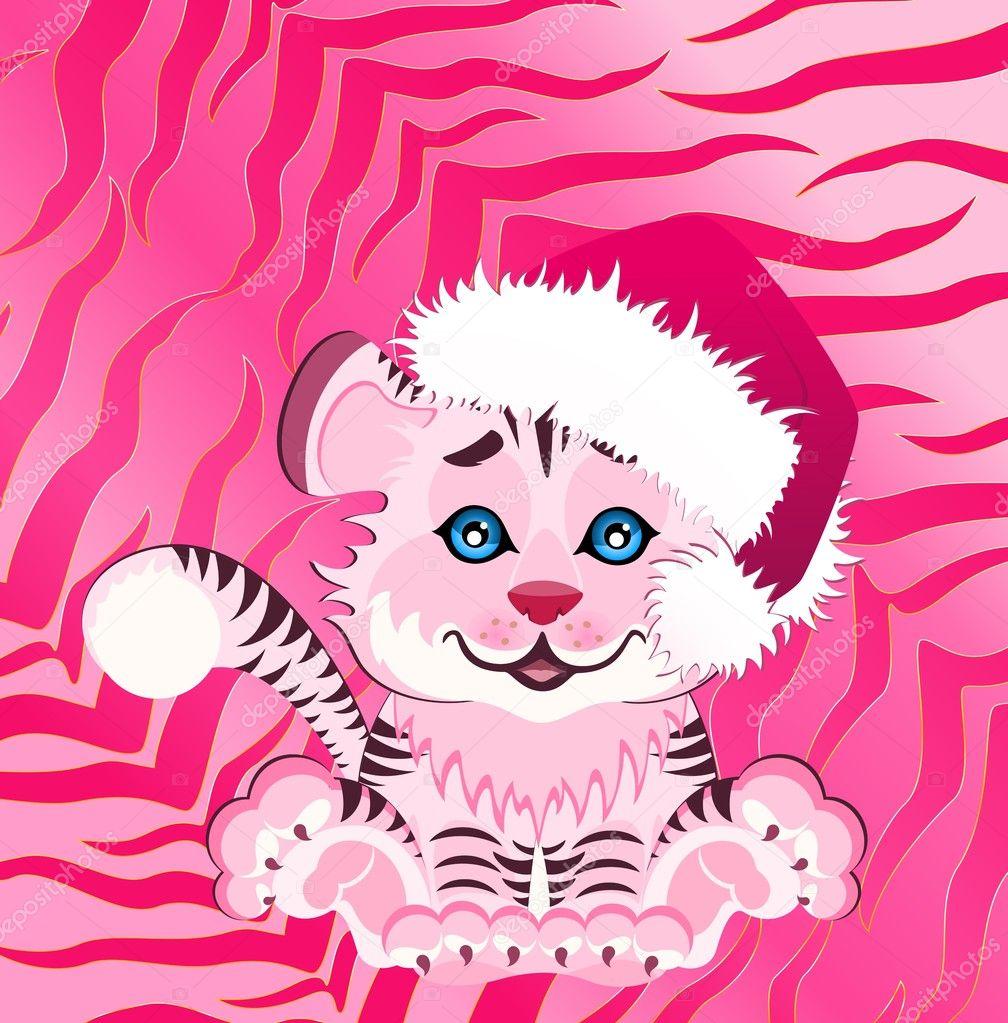 2010 年的标志是亮的抽象背景上红色帽的美丽小老虎— 矢量图片作者 f