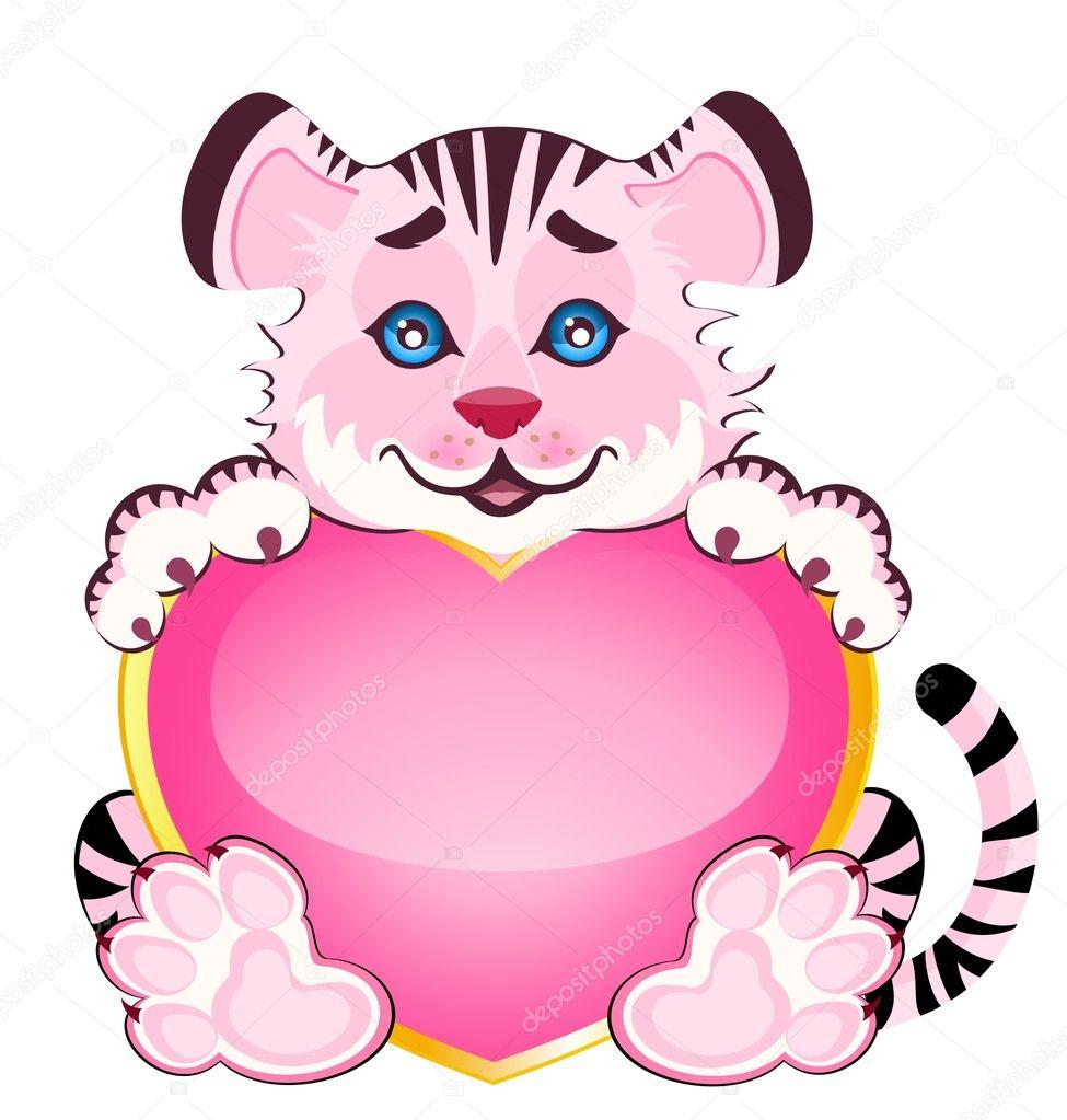 2010 年的标志是美丽的小老虎与背景上的心— vector by forewer