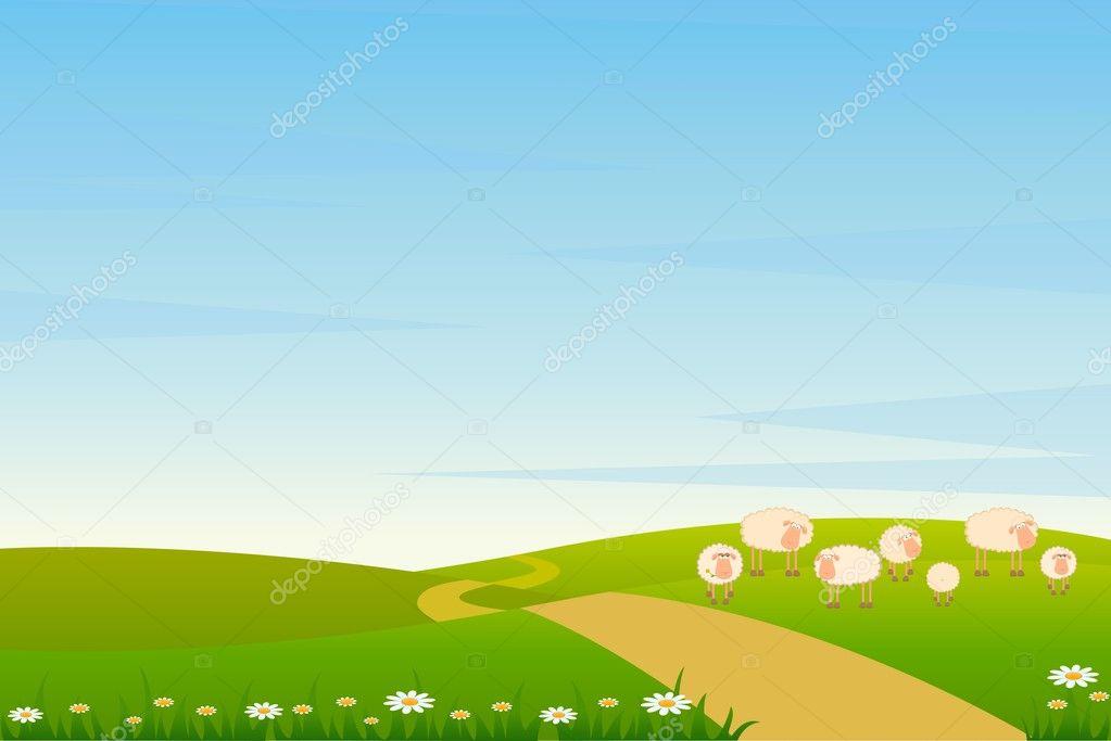 Fondo Animado Campo Parque Full Hd Animate Background: Fond Paysage Vector Avec Dessin Animé Souriant Moutons