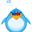 Vector cartoon penguin in 3d-glasses — Stock Vector