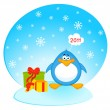 Cartoon little penguin with gift — Stock Vector