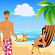 Royalty-Free Stock Vectorafbeeldingen: Beautiful young the man in shorts with fruits and woman