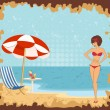 Beautiful girl on a summer beach. — Stock Vector