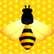 Beautiful bright background with funny bee — Stock Vector