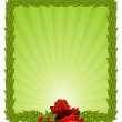 Beautiful Christmas frame on a green background — Stockvectorbeeld