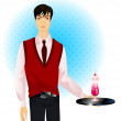Young beautiful waiter holds a cocktail on a tray — Stock Vector