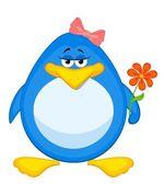 Cartoon penguin with flower — Stock Vector