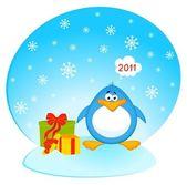 Cartoon little penguin with gift — Stock Vector