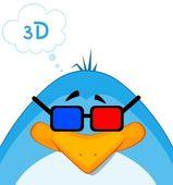 Vector cartoon penguin in 3d-glasses — Stock Vector