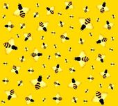 Beautiful bright background with funny bees — Stock Vector