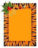 Beautiful frame in style of tiger is decorated a bow for christmas postals — Stock Vector