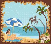 Mooi meisje op een strand van de zomer — Stockvector