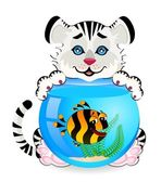 Little cartoon tiger with little colorful tropical fish in aquarium — Stock Vector
