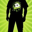 Vector silhouette of man with a Football on a sport shirt — Vektorgrafik
