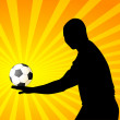 Silhouette of man with a Football — Vektorgrafik