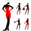 Set of beautiful silhouettes of girls on a background for a design — Векторная иллюстрация