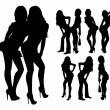 Stock Vector: Silhouette of girls