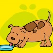 Illustration of cartoon dog eats - Stock vektor