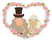 Cartoon sheep bridegroom and bride on background with floral heart. — Stock Vector