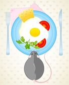 Funny rat wants to eat the fried eggs and cheese from a dish — Stock Vector