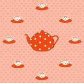 Red beautiful cups and tea-pot — Stock Vector