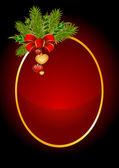 矢量圣诞节背景与心和红色蝴蝶结 — 图库矢量图片