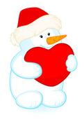 Vector cartoon little cute snowman with banner — Stock Vector